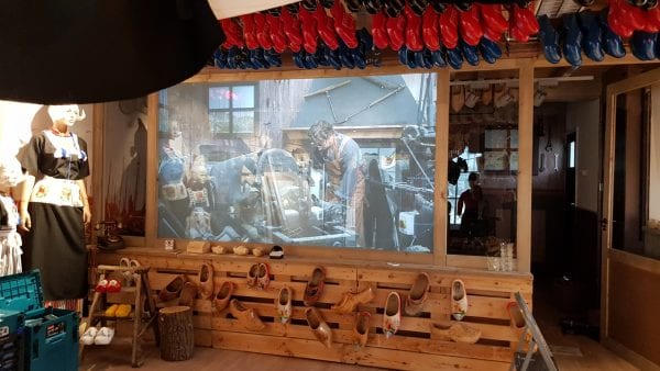 Switchable technology in The Wooden Shoe Factory in Volendam, Netherlands being used for projection and privacy