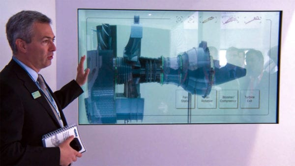 Transparent touch screens enable powerful commercial presentations