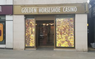 transparent led screen at london casino switched to on