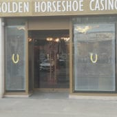 Transparent LED window display Screen in casino window with content