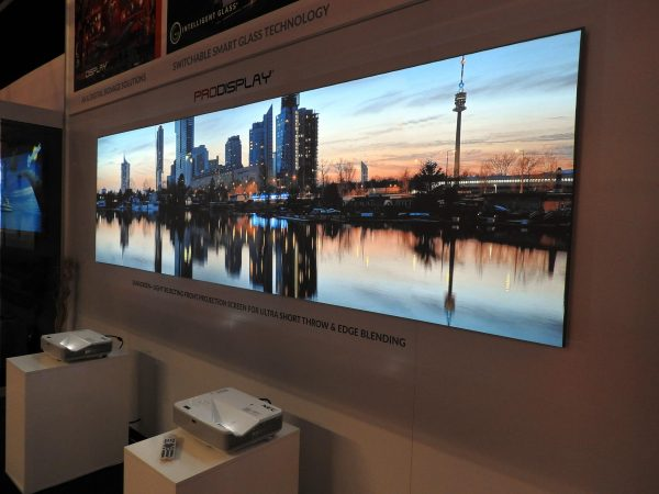ambient light rejecting projector screen with edge blending