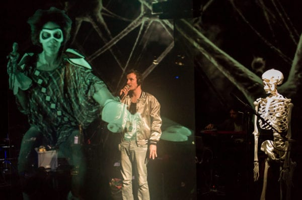 Clearview Rear Projection Technology used to achieve a Pepper's Ghost Style Holographic Effect on stage for pulp.noir