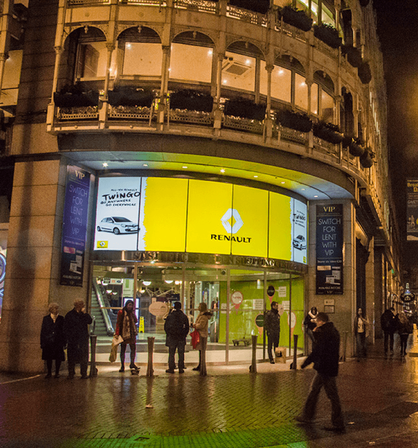 custom curved projection screen in grafton street