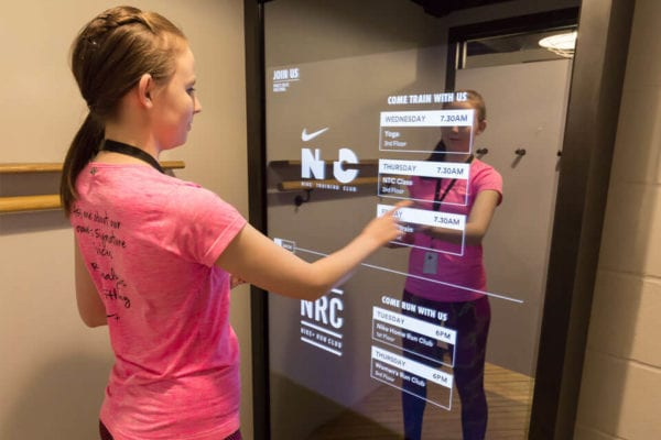 interactive mirror tv overlay changing rooms