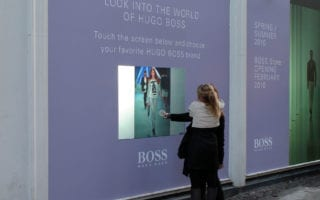 interactive projection foil window displays
