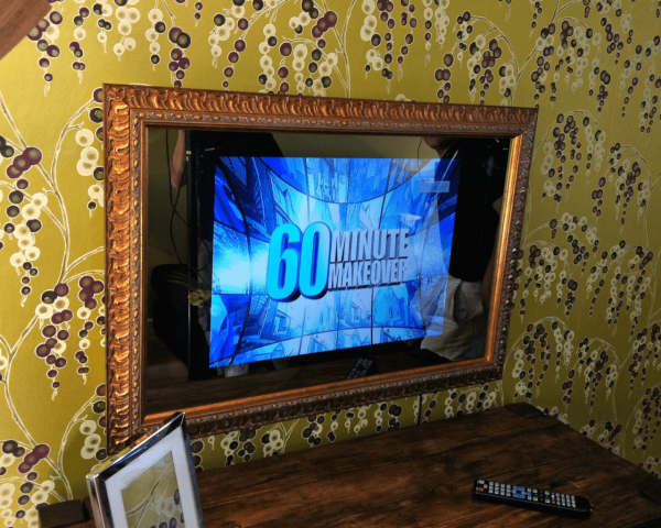 smart mirror with decorative frame 60 minute makeover logo