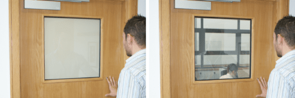 Switchable Door Vision Panels allows for people to check if the room is occupied before disturbing them